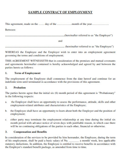 contract employment agreement in pdf