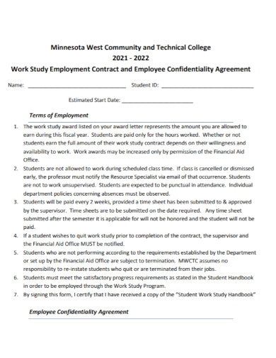 employment contract confidentiality agreement