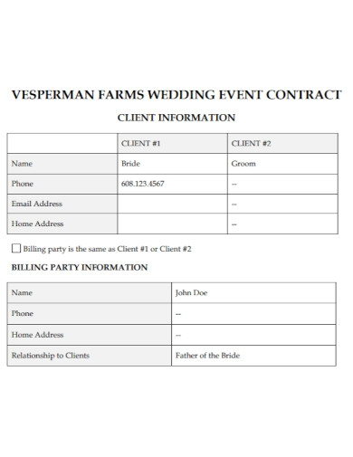 farms wedding event contract