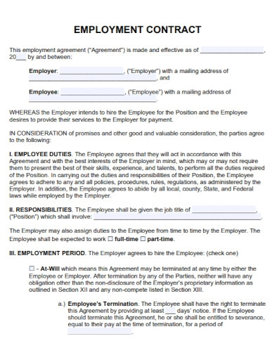 formal contract employment agreement