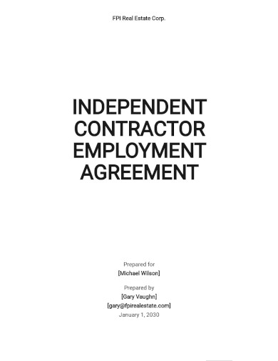 independent contractor employment agreement template