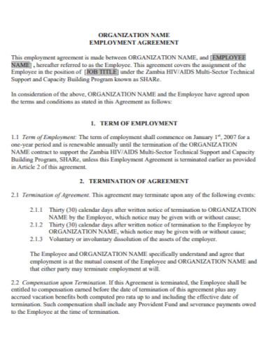 organization contract employment agreement