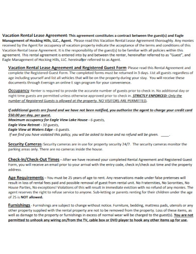 professional vacation rental lease agreement