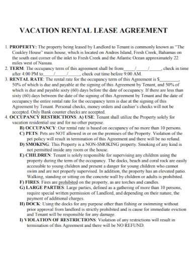 property vacation rental lease agreement