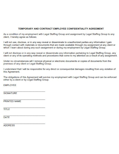staffing employment confidentiality agreement
