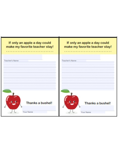 standard thank you note for kids
