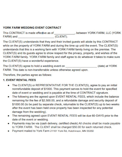 standard wedding event contract