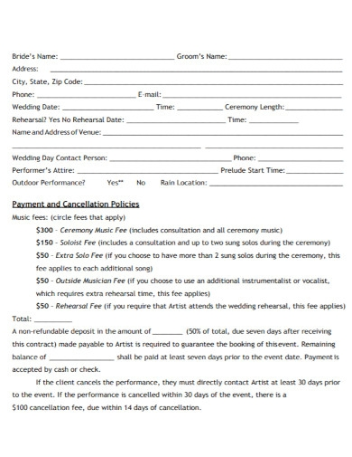 wedding event music contract