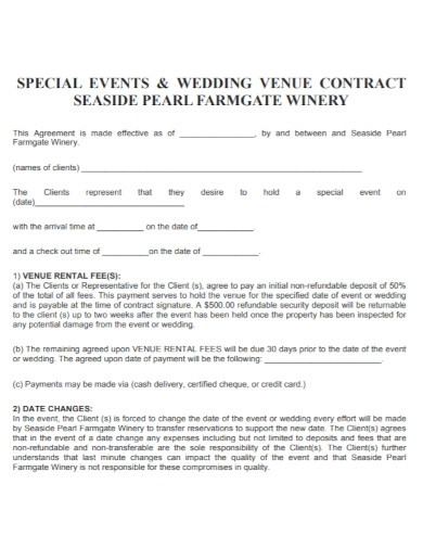wedding event venue contract