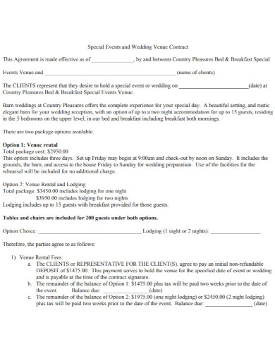 wedding special events contract